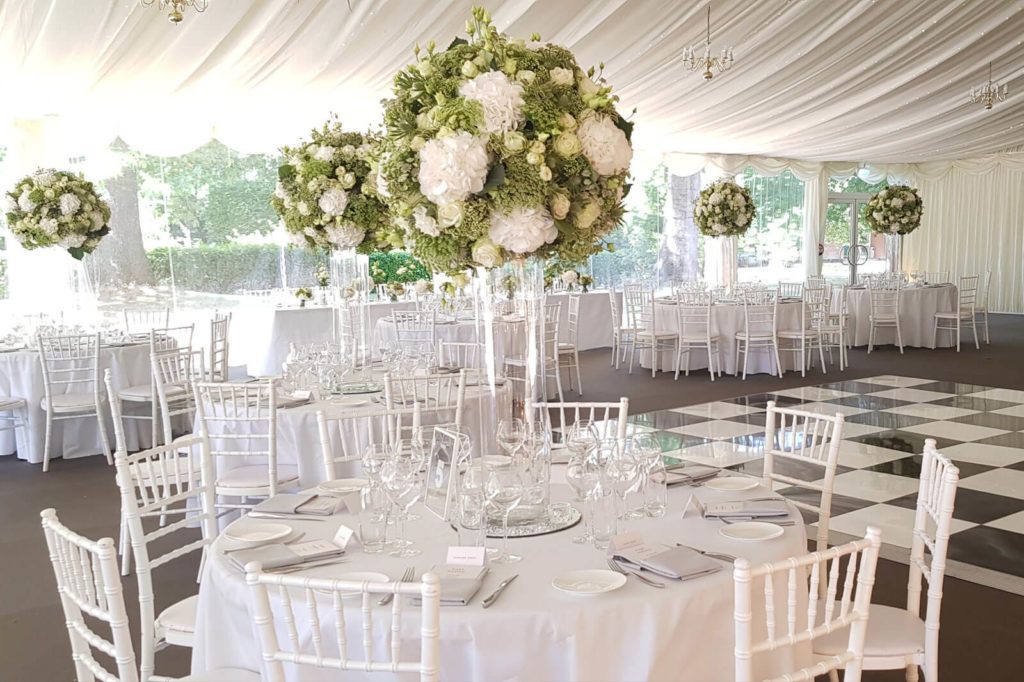Marque wedding with floral decorations