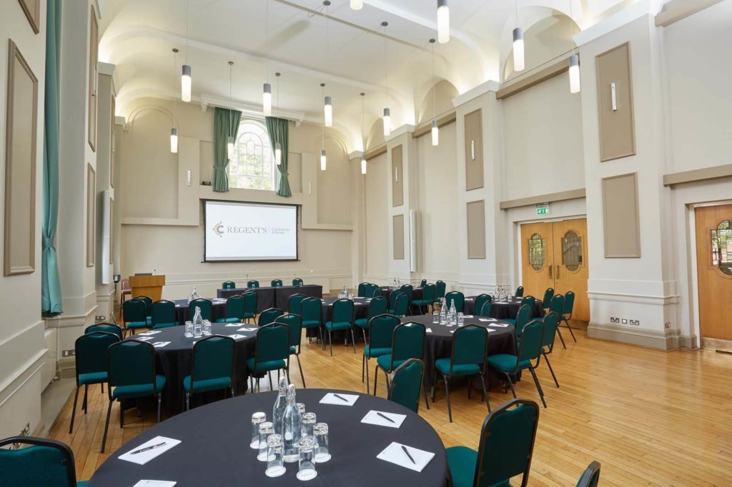 Conference venue with table seating